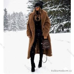 Kabát kožíšek Teddy dlouhý rukáv dámský (UNI S/L) ITALSKÁ MÓDA IMM201662/DR  hnědá