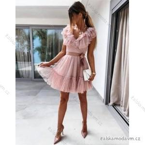 Šaty carmen tilové elegantní bez rukávů dámské (S/M ONE SIZE) ITALSKÁ MÓDA IMM21529/DR růžové