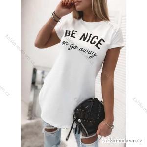 Tričko tunika prodloužená krátký rukáv dámská Be Nice (uni s-l) ITALSKá MóDA IMD2152053/DR