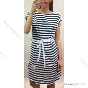 Šaty sportovní krátký rukáv dámské proužek (uni s-l) ITALSKá MóDA IM420650   tyrkysová