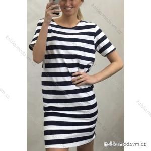 Šaty klasik krátký rukáv letní dámské proužek (un S-L) ITALSKÁ MÓDA IM42013189