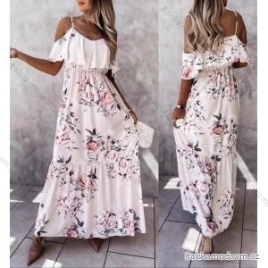 Šaty dlouhé carmen přes ramena květované dámské (S/M ONE SIZE) ITALSKÁ MÓDA IMM21722/DR