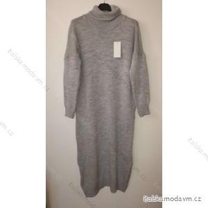 Šaty dlouhé pletené s rolákem dlouhý rukáv dámské (L/XL ONE SIZE) ITALSKá MóDA IM4212550