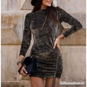Šaty elegantní sametové dlouhý rukáv dámské (S/M/L ONE SIZE) ITALSKÁ MÓDA IMY20550