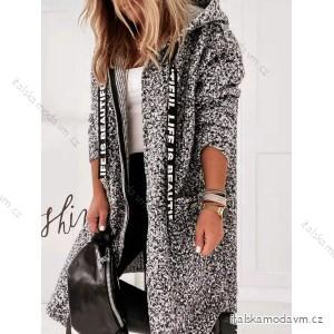 Kabát/beránek dlouhý rukáv na zip s kapucí dámský (S/M/L ONE SIZE ) ITALSKÁ MÓDA IMY20556