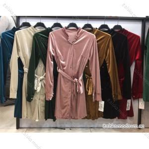 Šaty elegantní sametové dlouhý rukáv zavazovací dámské (UNI S/L) ITALSKÁ MÓDA IMWA20914