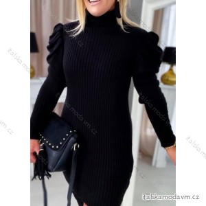 Šaty úpletové teplé s rolákem dlouhý rukáv dámské (S/M/L ONE SIZE) ITALSKÁ MÓDA IMK201011