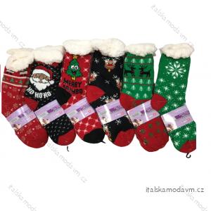Ponožky vánoční veselé zateplené bavlnou s beránkem dámské   (35-38,39-42) LOOKEN LOK20SM-HL-2066MC