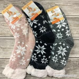Ponožky vánoční zateplené bavlnou s beránkem dámské  (35-38,39-42) LOOKEN LOK20ej-2752A